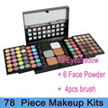 Best seller! Professional78 Color sombra Make Up Set 72 cores de sombra + 6 cor Foundation pó facial paleta de maquiagem