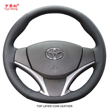 PONSY Echt Koe Lederen Auto Steering Covers Case voor Toyota YarisL Vios 2014 2017 Hand gestikt Top Layer koe Lederen