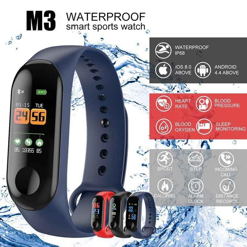 Pulseiras inteligentes tela colorida pulseira de pressão arterial rastreador de fitness relógio monitor de freqüência cardíaca pulseira smartband destacável
