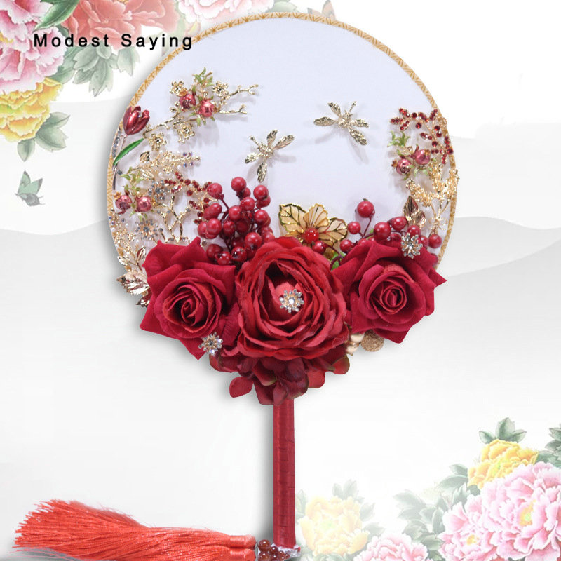 Chinese Red Artificial Flowers Wedding Bouquets 2018 With