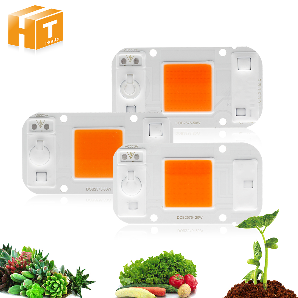 LED Grow Light COB Chip AC220V 20W 30W 50W Full Spectrum 380nm~840nm For DIY Hydroponics Greenhouse Grow LED. стоимость