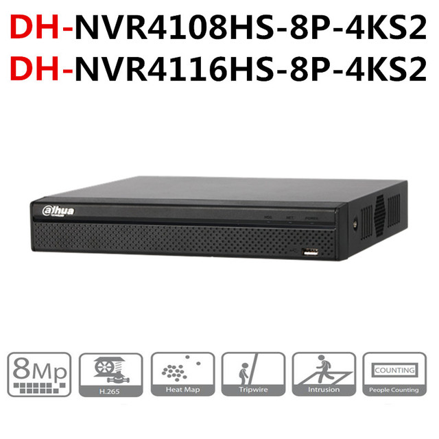 Dahua NVR POE NVR4108HS 8P 4KS2 NVR4116HS 8P 4KS2 8CH 16CH 콤팩트 1U 8PoE 4K H.265 Lite 로고가있는 네트워크 비디오 레코더 onvif