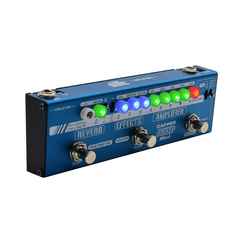 Valeton Dapper Amp Mini Effect Strip Pedal With Tuner, Amplifier,Effects,Reverb Module,Plus 9V DC 1 Amp Power Supply MES-6