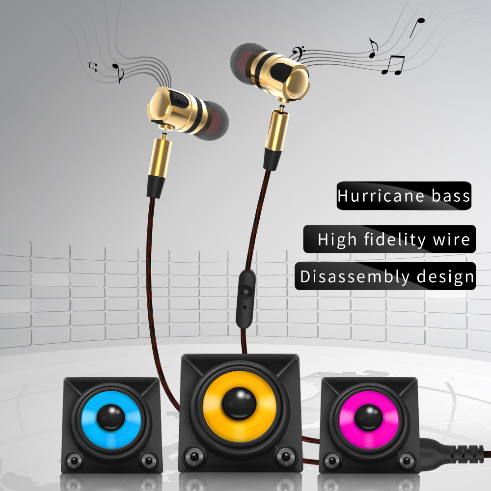 PLEXTONE X46M High Quality Earphone Wired Music Headset Detachable HiFi Earphones In-ear with MIC 3.5 MM Plug Golden And Gray skull style 3 5mm plug in ear earphones golden black