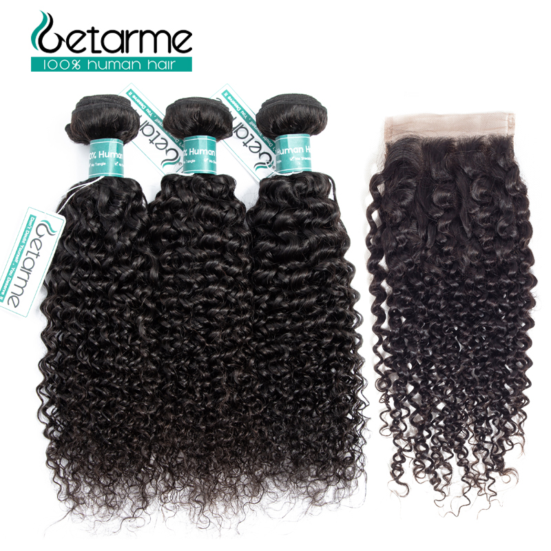 Malaysian Kinky Curly Hair Bundles With Closure Non Remy 3 Bundles Human Hair With Lace Closure