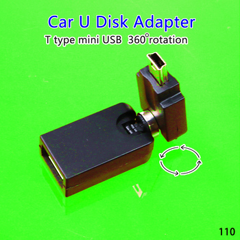 1pcs 360 Degree Rotate Mini USB 5Pin Car Audio Line In Video Data For Cellphone Tablet PC MP3 MP4 MP5 U Disk Camera Adapter image