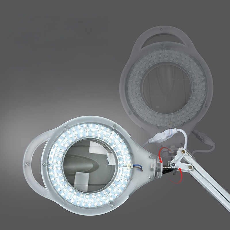 220V 3X круговой СВЕТОДИОДНЫЙ увеличительное стекло с лампой стекло холодной Ligth операции пол бестеневая лампа лупа для салона красоты ногтей татуировки
