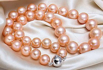 Élégant énorme AAA12mm mer du sud or rose perle collier 18 pouces argent fermoir> vente bijoux livraison gratuite