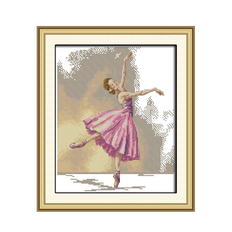 Ballet girl graceful dance 11CT 14CT embroidered cloth needlework cross stitch suite Chinese characteristics wholesale