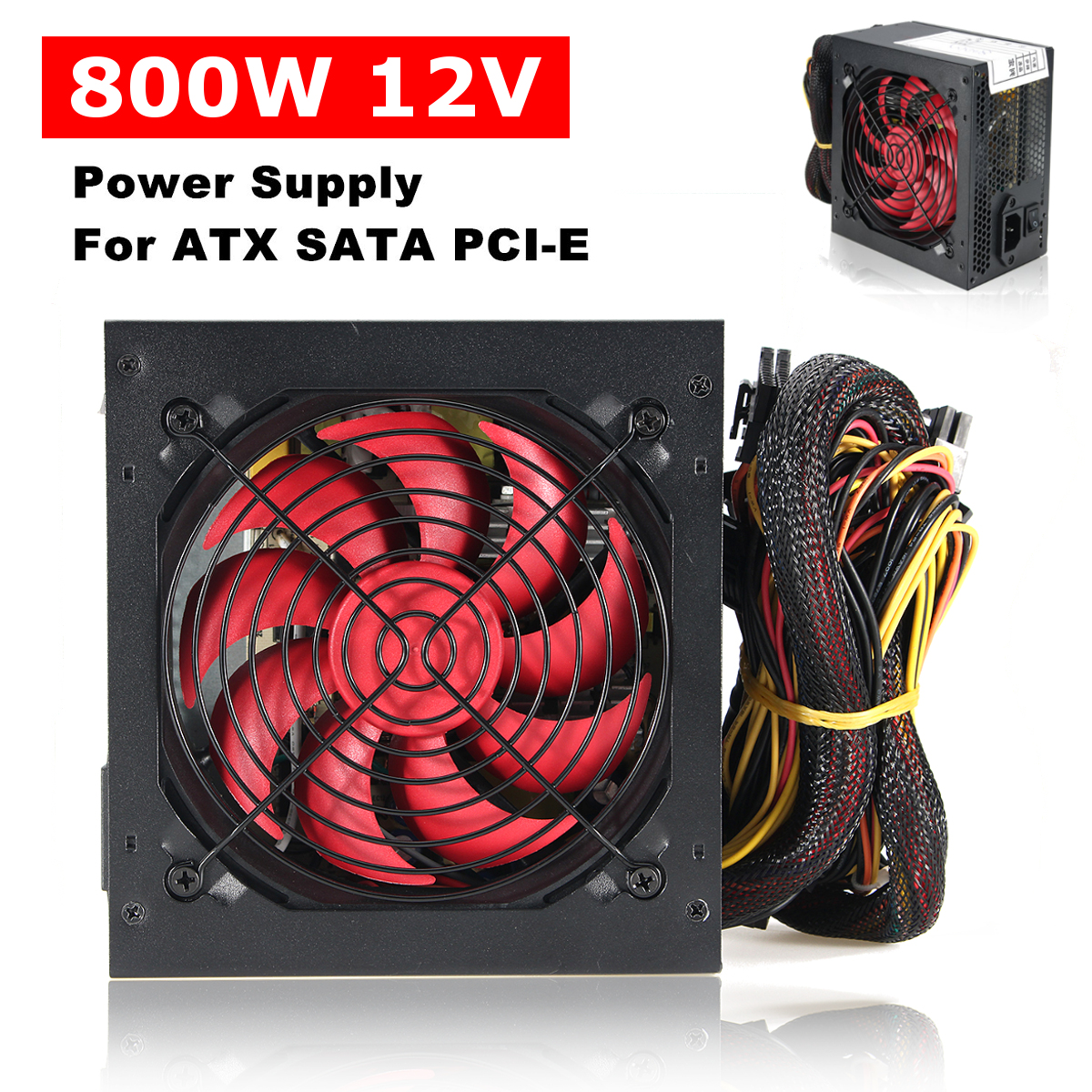 Calme 800 Watt 800 w pour Intel AMD PC 12 v ATX PC Alimentation SLI PCI-E 12 cm Ventilateur haute Qualité Ordinateur Alimentation Pour BTC