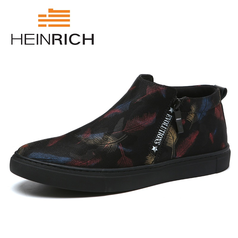 HEINRICH Spring/Autumn Canvas Male Shoes Fashion Comfortable Loafers Men Shoes 2018 Men High-Top Tide Casual Flats Shoes brand 2018 new comfortable casual shoes loafers men shoes high quality driving shoes fashion trends spring and autumn bh a0054