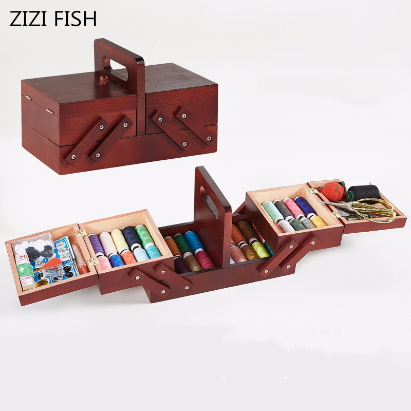 Storage Wood Box Sewing Kit Needle Tape Scissor Multifunction Threads Sewing Tools Accessory Sewing Kits For