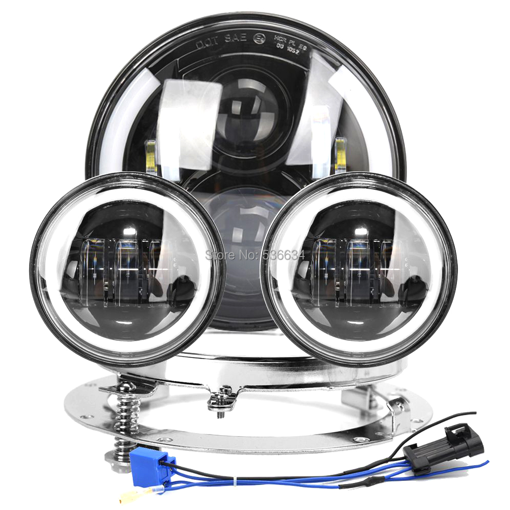 7LED Headlight Projector Hi/Low with DRL White/Amber+7headlight Mounting Bracket&4.5led Fog lights for Electra Glide