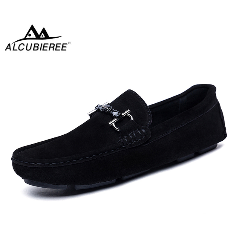ALCUBIEREE Genuine Leather Men Loafers Fashion Slip On Driving Shoes Men Moccasin Boat Shoes Casual Business Men Shoes Gommino vikeduo brand retro handmade men moccasin gommino fashion casual shoes leather tassel shoes hand painted footwear