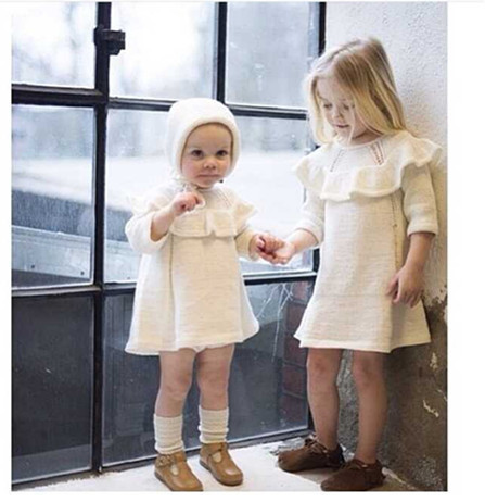 15 years of high-end custom models fall INS explosion models sweater dress baby sweater knit dress baby girls dress drawstring side heathered knit dress