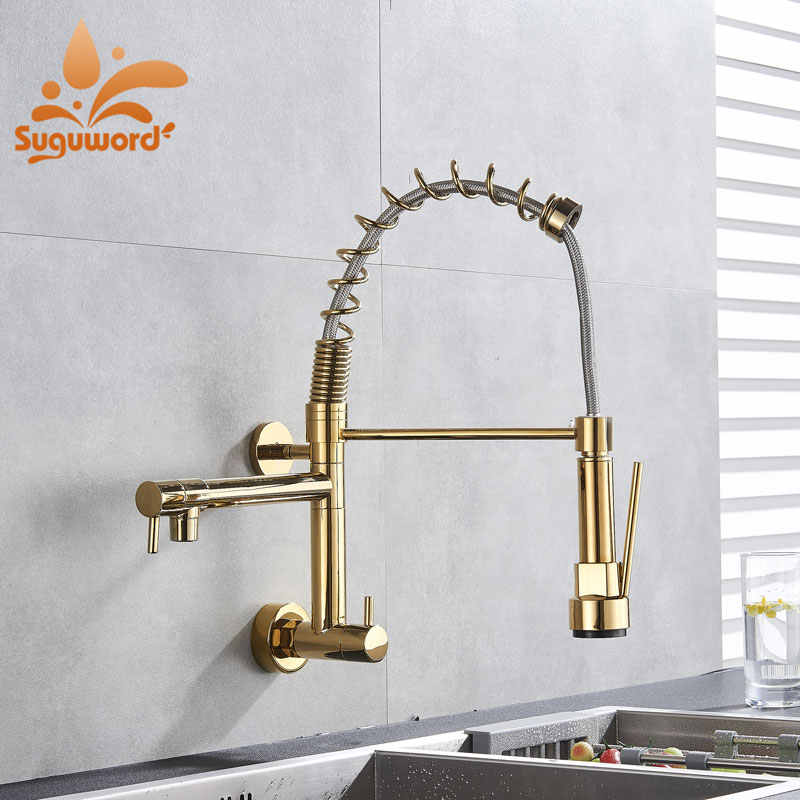 Wall Mount Spring Kitchen Faucet Single Cold Torneira  Mixer Tap Deck Mounted Chrome Crane pull Dwon and Rotation
