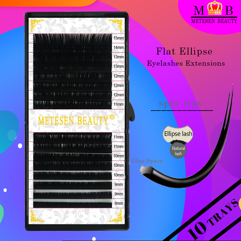 METESEN BEAUTY 10trays Flat Ellipse Eyelash Extensions Grafting Supplies Professional Individual Lashes Best makeup eyelashes