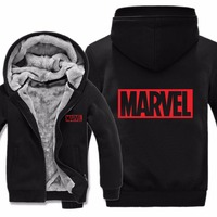 2019 Free Shipping Men Casual Wool Liner Fleece Super Heroes Marvel Sweatshirts Pullover Man Coat Marvel Hoodies Jacket Winter