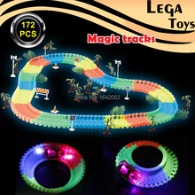 DIY Assembly Miraculous Glow Race Track Bend Flex Flash in the Dark Electronics racing car Track Set with 5 LED light-up racecar