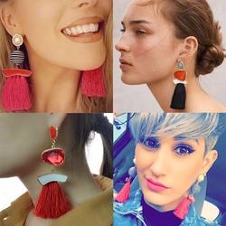 Dvacaman boho simulated pearl tassel earrings for women vintage gem long fringe hanging drop colorful earring.jpg 250x250