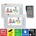 Luxury 7 inch touch key video door phone intercom system 1 camera 2 monitors doorphone rain cover doorbell hands-free