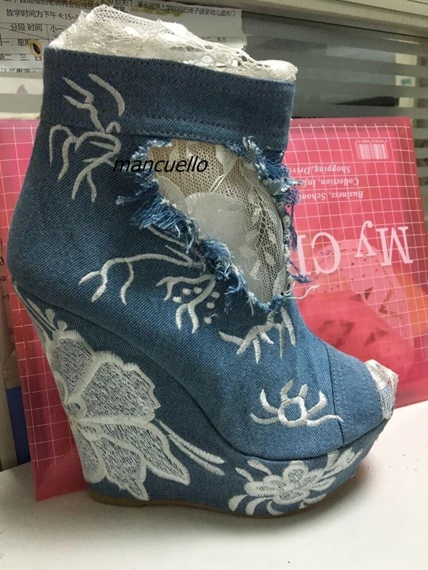 Fantaisie Jean Dentelle Bord Sandale Bottes Jolie Dentelle Patchwork Brodé Fleurs Décoré Peep Toe Wedge Sandales PlatformDress Chaussures