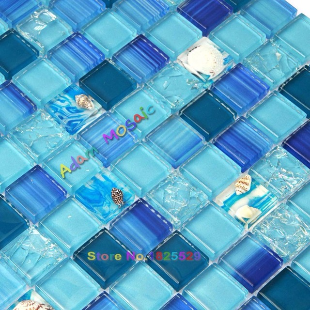 Ocean Blue Mosaic Tile Bathroom Wall Tiles Kitchen Backsplash Gl Conch Sea Shell Sheets