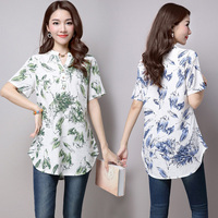 Dioufond V Neck Cotton Print Shirts Short Sleeve Linen Blouse Loose Vintage Style Clothing Summer Casual
