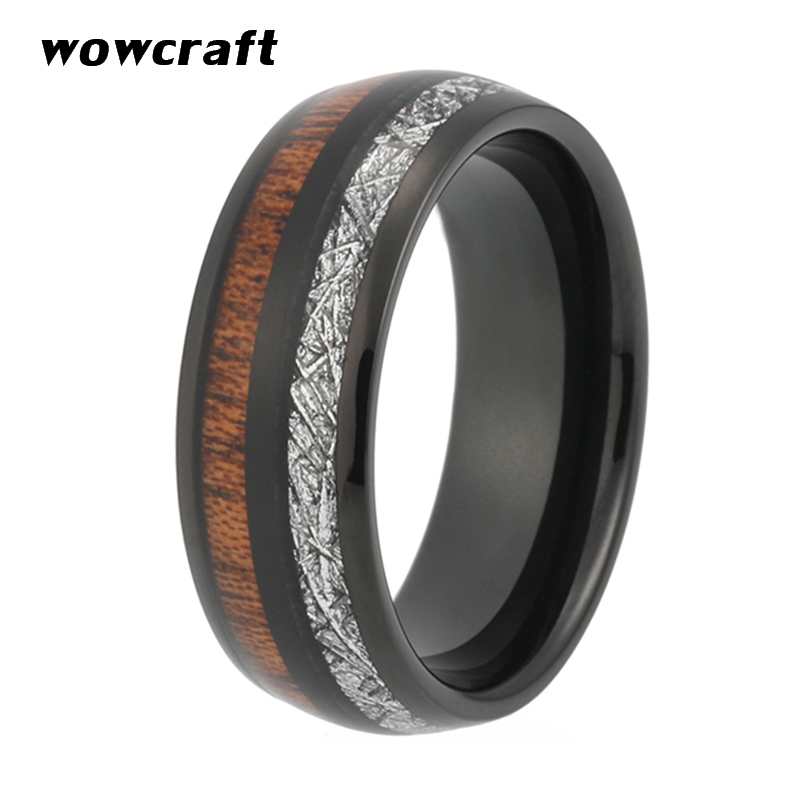 8mm Rose Gold Tungsten Wedding Ring Men Women Nature Koa Meteorite Inlay Rose Gold Black Plated Dome Band Gift Anniversary Rings in Wedding Bands from Jewelry Accessories