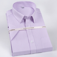 Men's Non Iron Short Sleeve Basic Dress Shirt with Chest Pocket 100% Cotton Wrinkle Resistant Easy Care Regular fit Formal Shirt