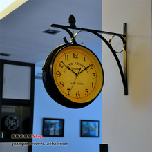 New York train station clock European classical decorative style living room aisle double iron mute watch clock