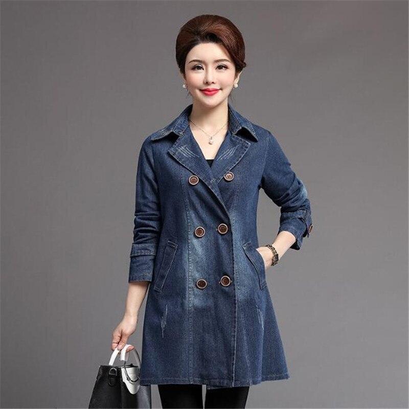 Women   Basic   Coat Denim   Jacket   2019 New Fashion Turn Down Collar Denim Coat For Female Jeans   Jacket   Xl-5Xl Ds50150