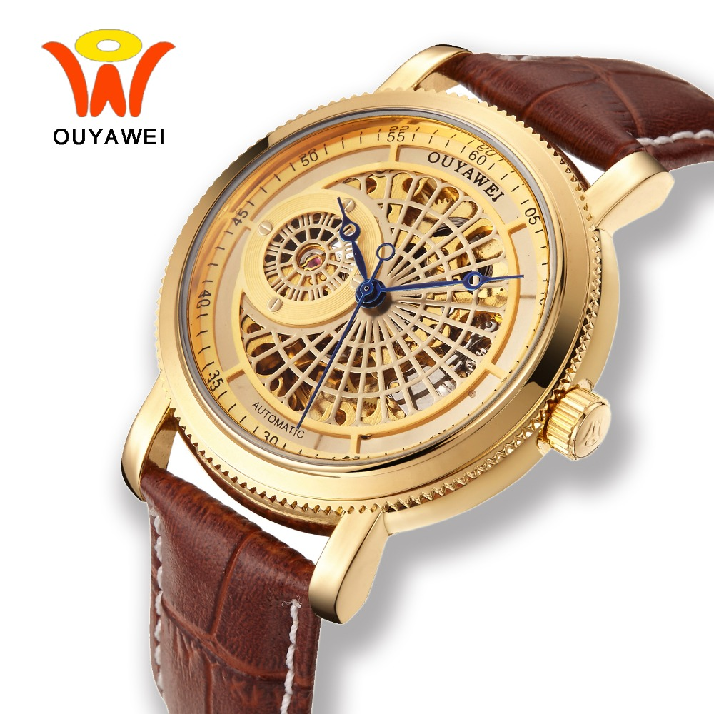 Ouyawei Skeleton Gold Automatic Self Wind Watch Men 2017 Mechanical Coffee Leather Wrist Watches  Relojes Automaticos Hombre women favorite extravagant gold plated full steel wristwatch skeleton automatic mechanical self wind watch waterproof nw518