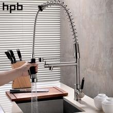 HPB Einzigen Handgriff Ziehen Küche-hahn Zeitgenössischen Stil vorspülen Messing Waschbecken Mischbatterie Warm-Und Wasser gebürstet HP4108