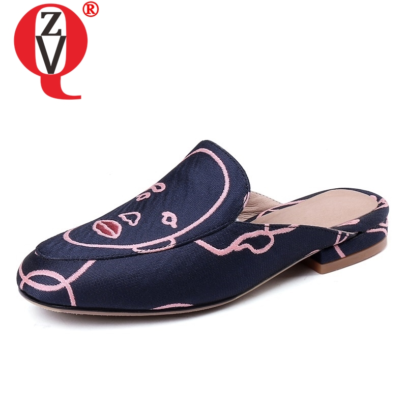 ZVQ shoes woman 2019 summer new concise casual round toe women slippers outside comfortable blue plus