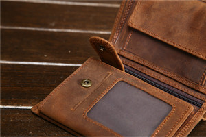 Image 5 - Fathers Day Gift Vintage Customize Genuine Leather Cowhide Short Thick Cash Card Coin Wallet Purse Pocket Holder for Man 566