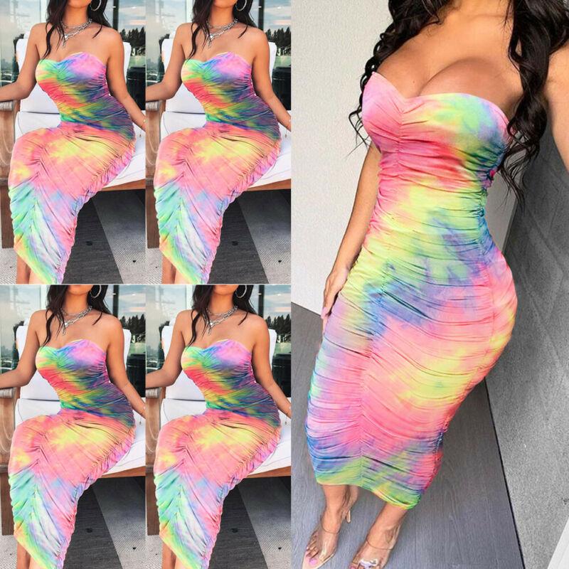 2019 Newest Hot Women's Maxi Boho Dress Rainbow Color Floral Summer Sexy Beach Sheath Tube Top Dress Evening Party Long Sundress
