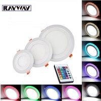 Новый дизайн белый + RGB 3 модели светодиодные панели RGBW ультра тонкий встраиваемые акрил 6 Вт 9 Вт 16 Вт 24 вт светодиодные панели лампы потолочн...