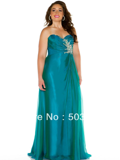 Free Shipping Green Crystal Plus Size Prom Dresses 2014 Prom Gown