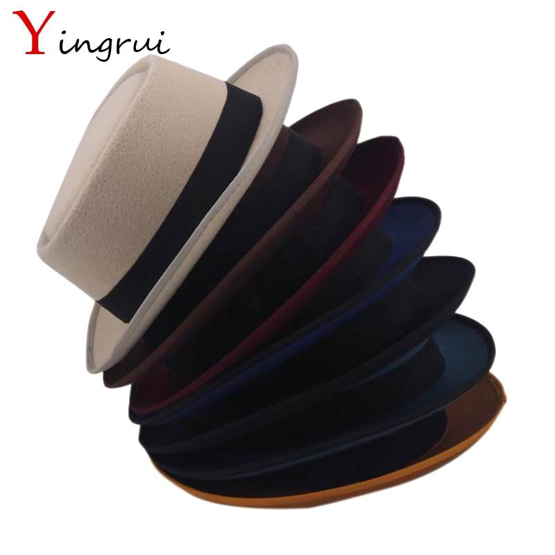 Vintage Flat Top Mens Classic Felt Pork Pie Porkpie Fedora Hat Chapea Cap  Upturn Masculino Black Ribbon Band Panama Hats 2552f2d18a02