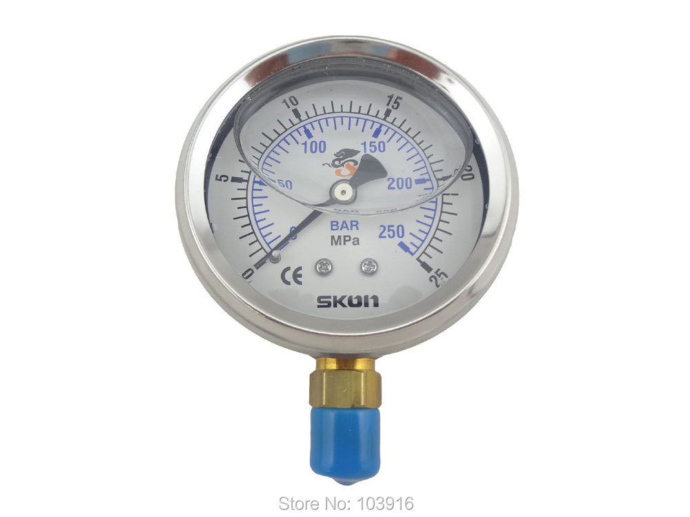 10 pcs of BSP 1 4 Radial connection Pressure gauge 25Mpa 250bar brass bar MS SWH