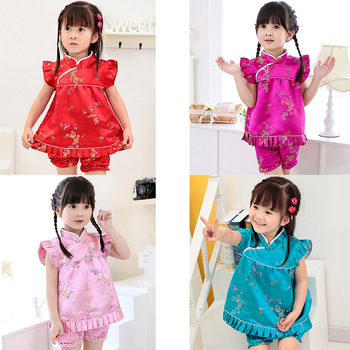 2020 New Summer Floral baby girls clothes sets outfits infant suits New Year Chinese tops dresses short pants Qipao cheongsam 2018 autumn new arrival girls chinese style cheongsam kids girls long sleeve crane print dresses surplice qipao clothes years