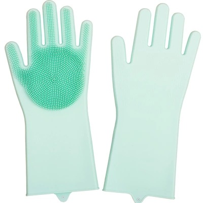 Silicone Cleaning Gloves For Kitchen And Dish Washing Glove With Scrubber For Household