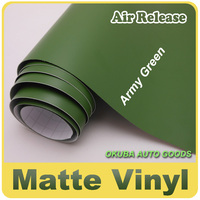 EXCELLENT Matte Army Green Wrap Vinyl Film With Air Channels Size:1.52*30m Thickness:0.13mm