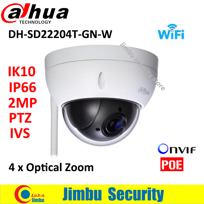 Dahua Wifi Camera IP Camera SD22204T-GN -W 2MP Network Mini PTZ camera Speed Dome 4x optical zoom IVS Auto IRIS English Firmware original dahua 1080p mini ptz ip camera dh sd22204t gn 4x zoom hd network speed dome camera onvif sd22204t gn with power supply