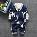 Spring Autumn Children Clothing Set 2016 New Fashion Baby Boys Tide Shirt+Vest+pants Sets Clothes Suit Kids Boys Outfits Suit