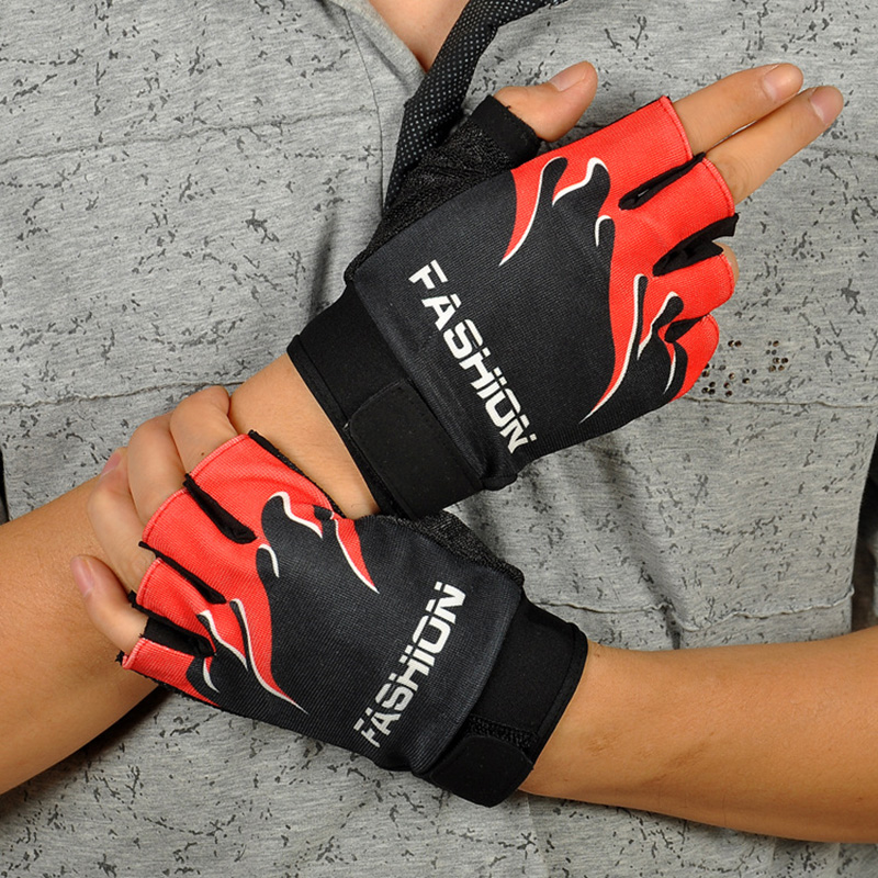 Men's Half Finger Non Slip Silica Gel Cycling Gloves Men Summer Sports Bike Flame Pattern Gloves Luvas Guantes Protect Glove S66