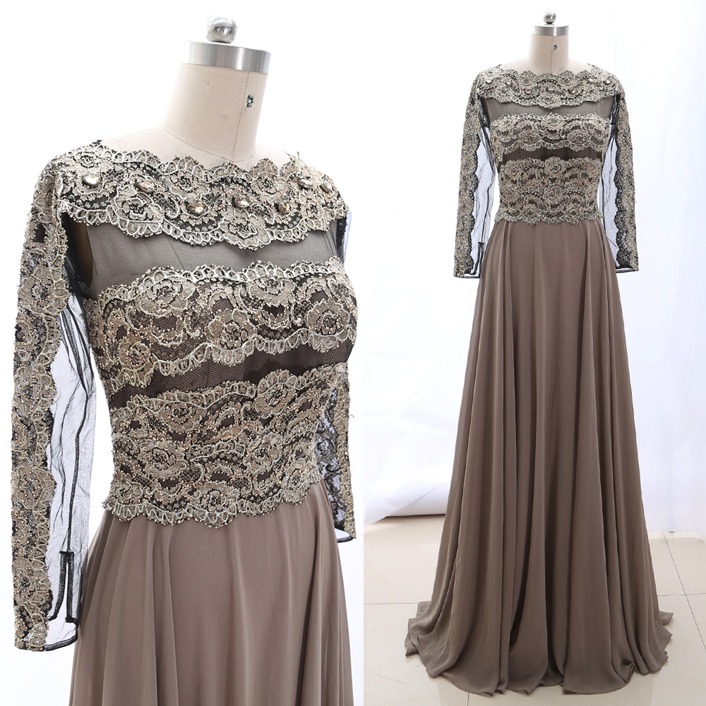 MACloth Gray 0 O Neck Floor-Length Long Crystal Jersey   Prom     Dresses     Dress   M 265090 Clearance