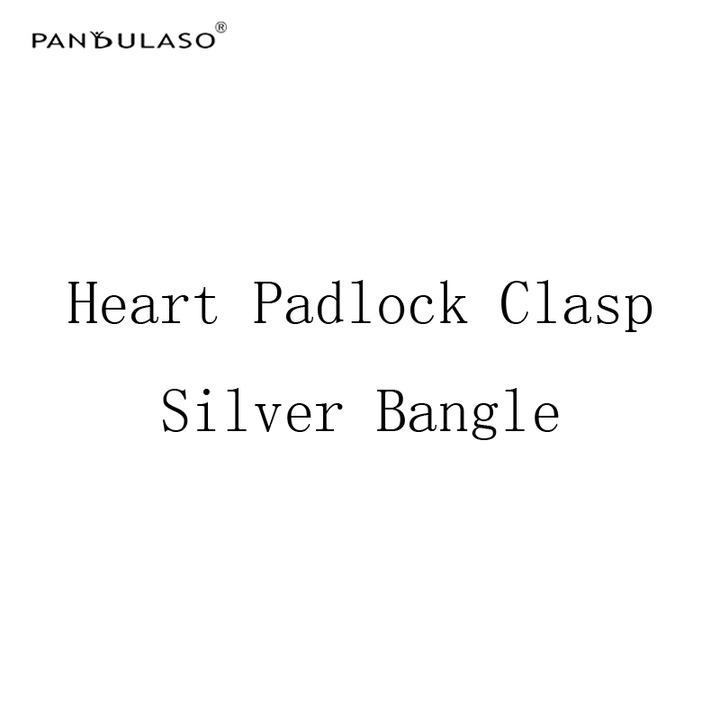 Pandulaso 2018 New Fashion Heart Padlock Silver Bangles for Women 925 Sterling Silver Jewelry Lock Clasp Bracelets & Bangles DIY