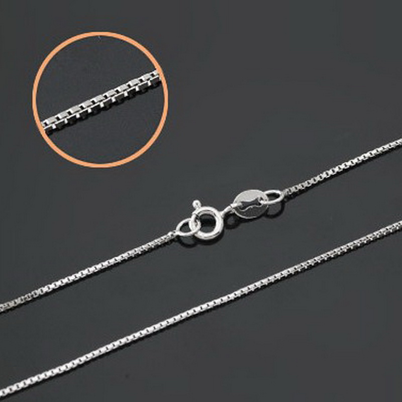 5654d692ddcb2 US $45.0  10pcs/lot Solid S925 Silver Box Chain Necklace, Standard 0.8MM  Sterling Silver Italy Box Necklace 16inch 20inch for Choice-in Chain ...